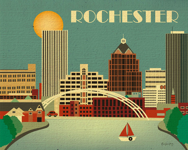 Rochester New York Skyline Eclectic Artwork Other