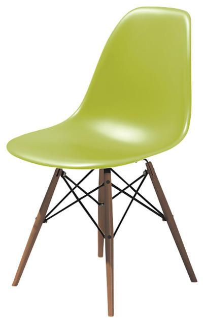 Eames dowel leg side chair lime green walnut legs for Eames dowel leg side chair