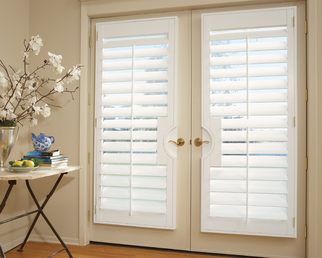 French door shutters interior shutters transitional Plantation shutters for doors interior
