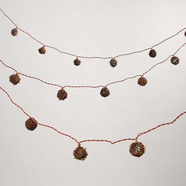 Rattan Ball String Lights - Contemporary - Outdoor Fairy Lights - by Cost Plus World Market