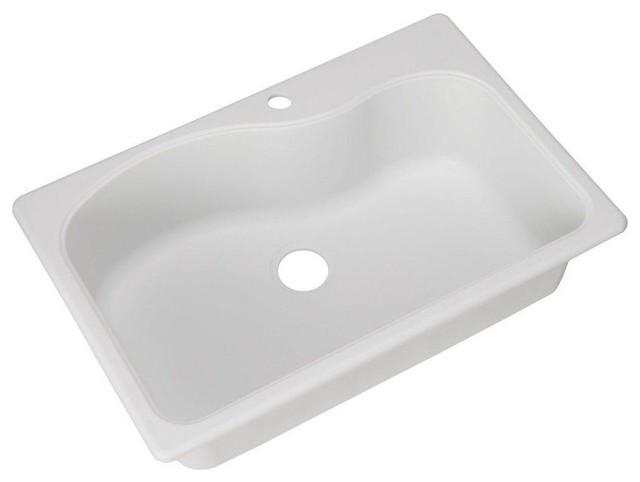 Dual Mount Composite Granite 33x22x9 1-Hole Single Bowl Kitchen Sink ...
