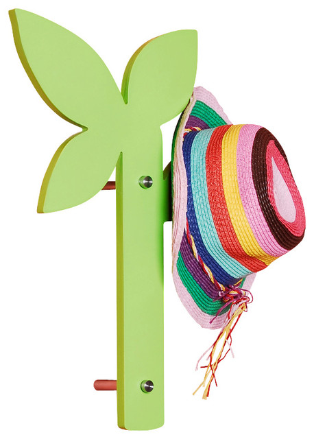 Creative Leaf Wall Mount Coat Hat Rack Hook Hanger, Green contemporary-wall-hooks