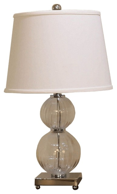 Michael Anthony Furniture Visionary Clear Fluted Double Round Glass Table Lamp Transitional