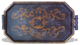 Tray Hexagon, French Black Distressed - Traditional - Serving Trays ...