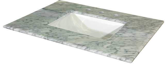 "White Carrara Marble Vanity Top With Rectanglar Sink, 30"" - Contemporary - Vanity Tops And Side ..."