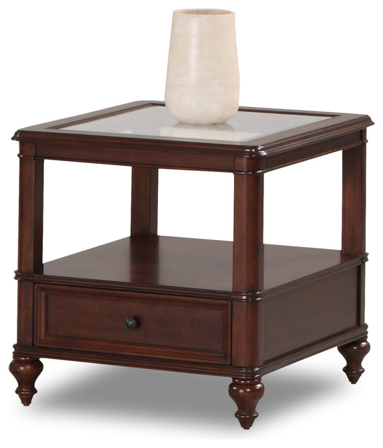 Havana Square Rich Cherry End Table Contemporary Side Tables And End Tables By