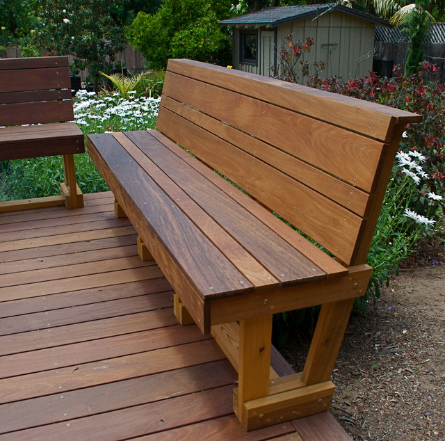 Modern Outdoor Wood Bench Ipe hardwood bench - modern - outdoor ...
