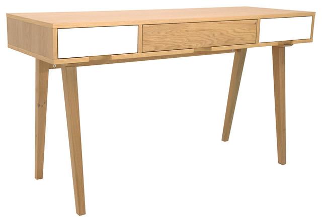 Bureau ch ne design 3 tiroirs blanc et ch ne 140 cm for Meuble bureau 140 cm
