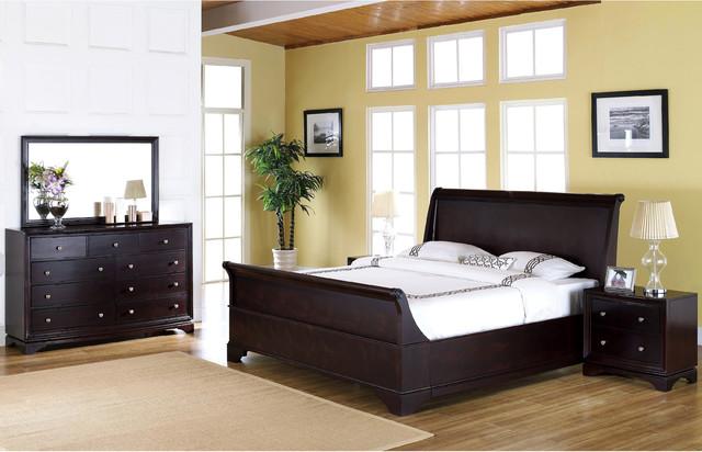 Abbyson Living Kingston 5 Piece Espresso Sleigh Queen Size Bedroom Set Contemporary Bedroom