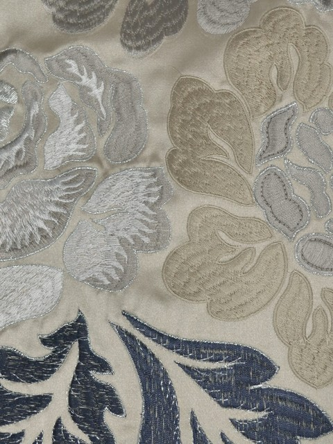 Gray Embroidered Floral Faux Silk Fabrics