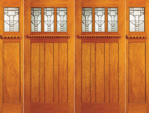 Mission style mahogany prehung double door and two for Arts and crafts front doors