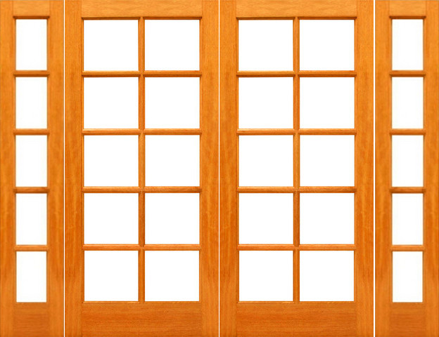 Pre hung red oak 10 lite french red oak wood ig glass for Double hung french patio doors