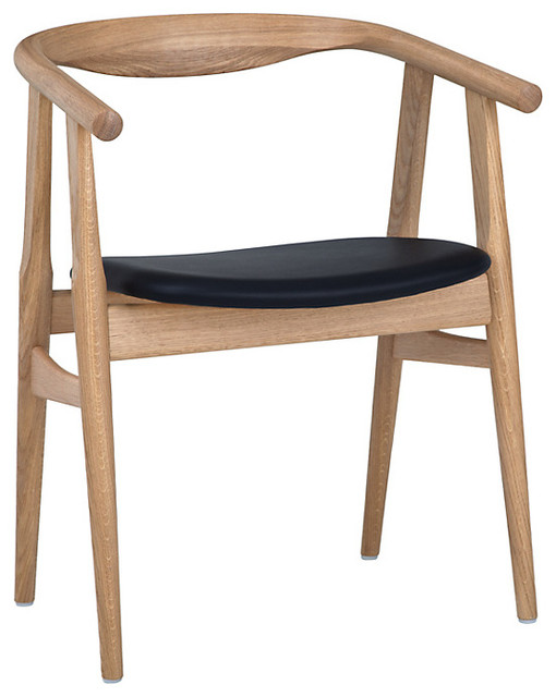 "Hans wegner the ""u"" chair, oak/black leather   retro ..."
