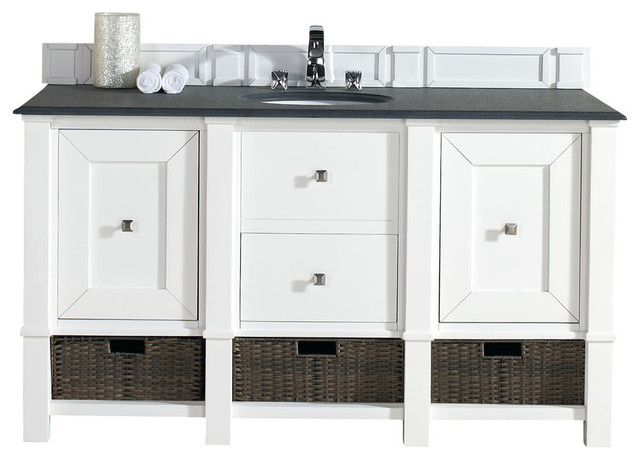 Madison 60 cottage white double vanity with absolute - White cottage style bathroom vanities ...