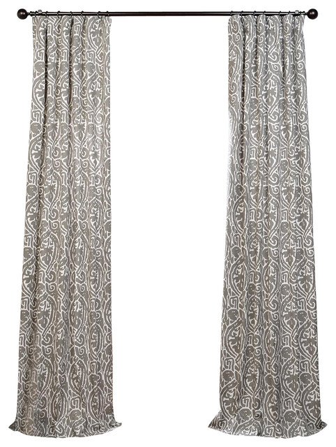 Zambia Gray Printed Cotton Curtain Single Panel
