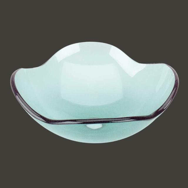 Vessel Sinks Green Glass Tourmaline 4 Petal Vessel Sink Modern Bathroom Sinks By The