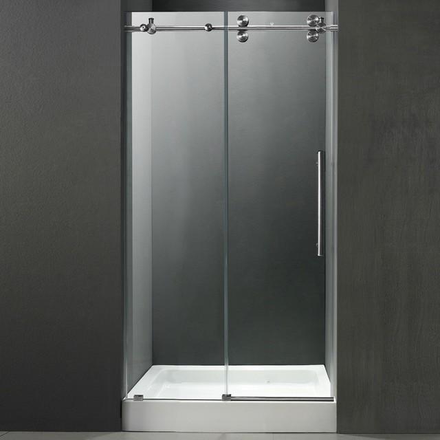 "Stainless Steel Bathroom Stalls Property: 48"" Frameless Shower Door 3/8"" Clear/Stainless Steel"