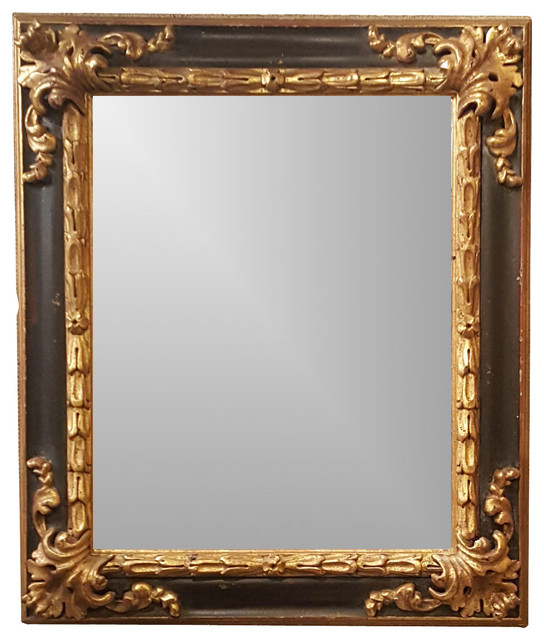 Black And Gold Spanish Style Ornate Framed Beveled Mirror