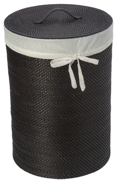 Round rattan hamper with liner espresso contemporary hampers other by kouboo - Wicker hampers with liners ...