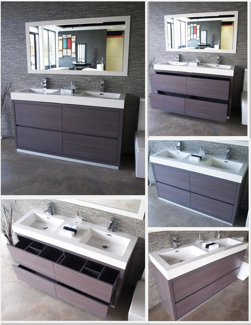 Bliss 60 Gray Oak Floor Mount Modern Bathroom Vanity Modern Bathroom Vanities And Sink