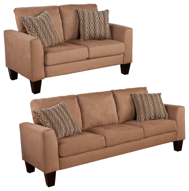 Carlton Sofa And Loveseat 2 Piece Set Mocha Transitional Living Room Furniture Sets By
