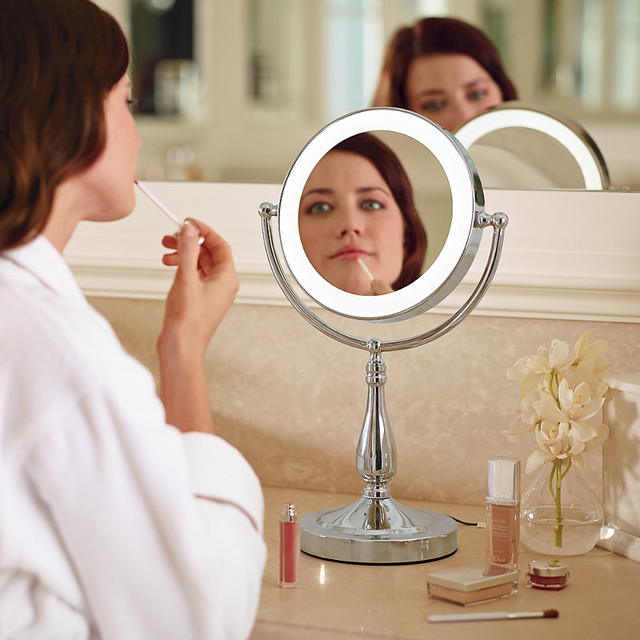 Smart Touch Lighted Vanity Mirror Traditional Bathroom