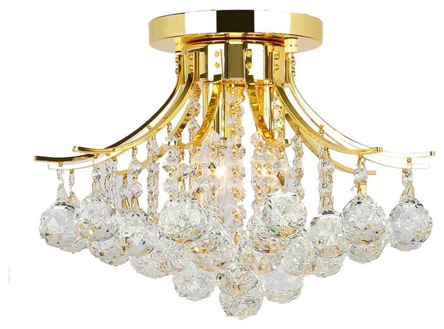 Empire Three Light Gold Finish Crystal Chandelier