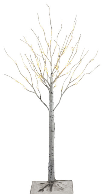 "40"" Silver Artificial Birch Christmas Tree With 36 LED Lights - Modern - Holiday Decorations ..."