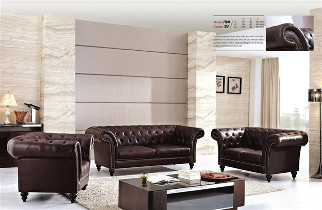 Aberdeen Tufted Leather Sofa Set Modern Living Room Furniture Sets By