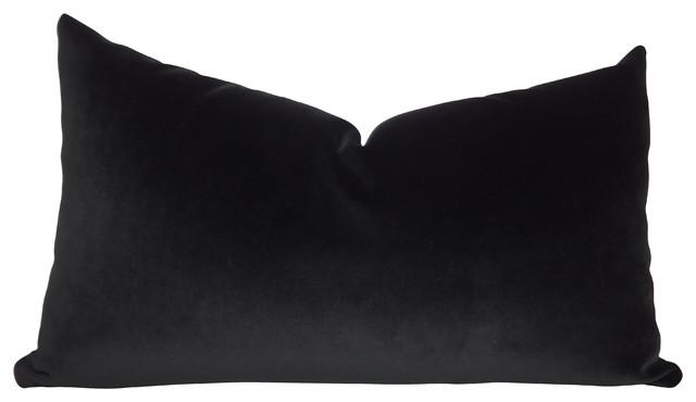 JB Martin Solid Black Velvet Throw Pillow, 12