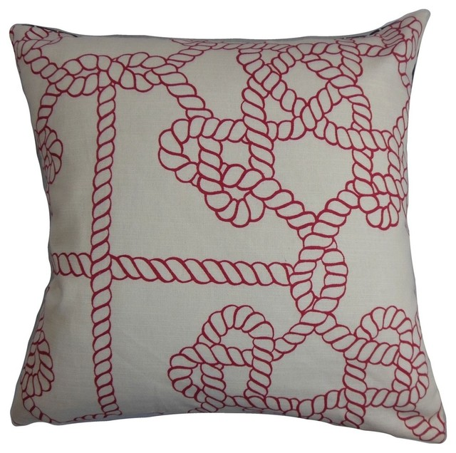 Nautical Coastal Throw Pillows : Accalia Nautical Pillow Natural Red - Beach Style - Decorative Pillows - by The Pillow Collection