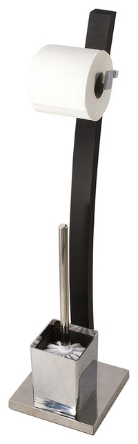 d rouleur papier wc sur pied et brosse wc m tal noir et chrom moderne d rouleur papier. Black Bedroom Furniture Sets. Home Design Ideas