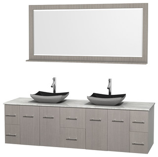 Centra 80 Grey Oak DBL Vanity Carrera Marble Top Altair Sinks 70 Quo