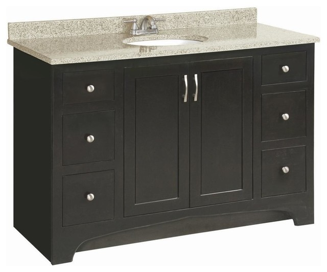 Amazing Get A Simple, Stylish Storage Solution With The Design House 612523 Ventura Single Sink Bathroom Vanity A Golden Granite Vanity Top, The Deep Espresso Finish On The Solidwood Base, And Satin Nickel Hardware Give This Slim Vanity A