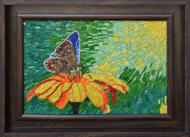 Butterfly in flower custom mosaic tile art contemporary for Custom mosaic tile mural