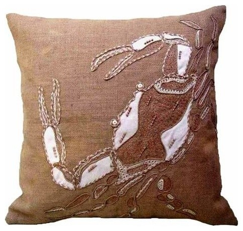 Beach Style Pillows : Coastal Burlap Crab Pillow - Beach Style - Decorative Pillows - by BSEID