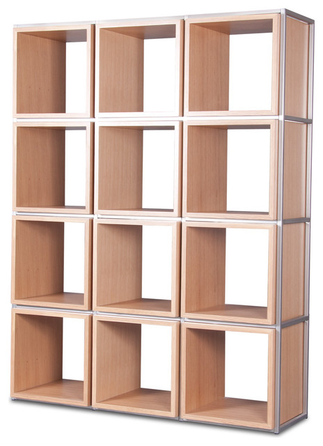 Grid i light oak shelving unit modern display wall for Contemporary display shelves