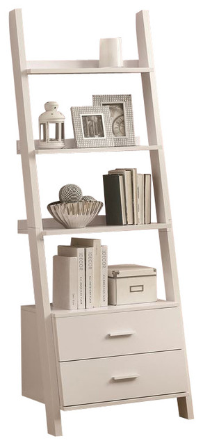 monarch specialties ladder bookcase with two storage drawers 69-inch cappuccino 1