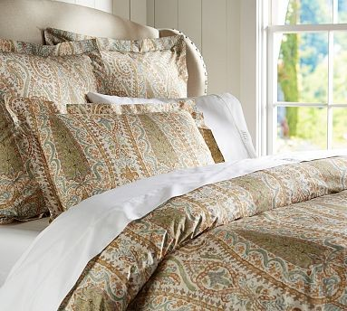 agatha paisley duvet cover king cal king cool traditional bedding by pottery barn. Black Bedroom Furniture Sets. Home Design Ideas