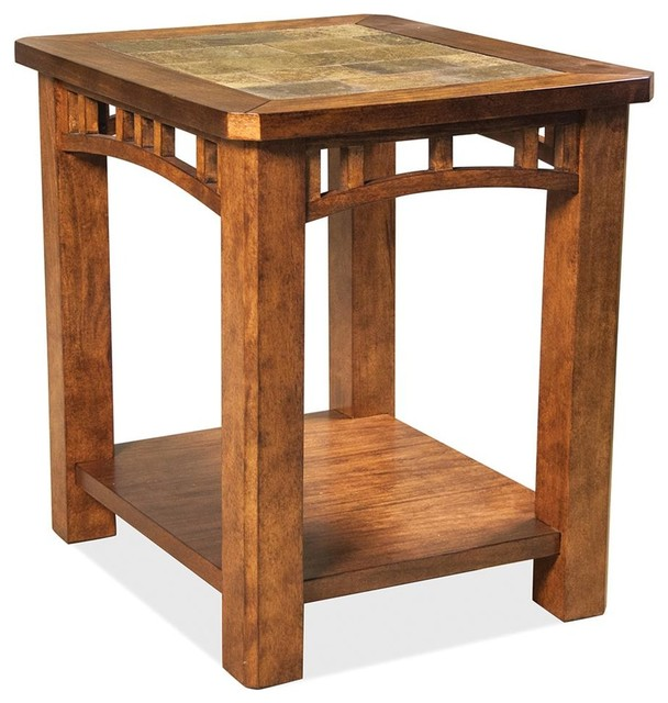 End Table With Natural Slate Insert Top Craftsman Side