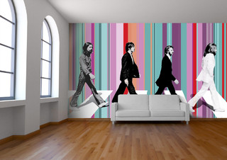 Beatles abbey road wallpaper contemporary wallpaper for Beatles bedroom ideas