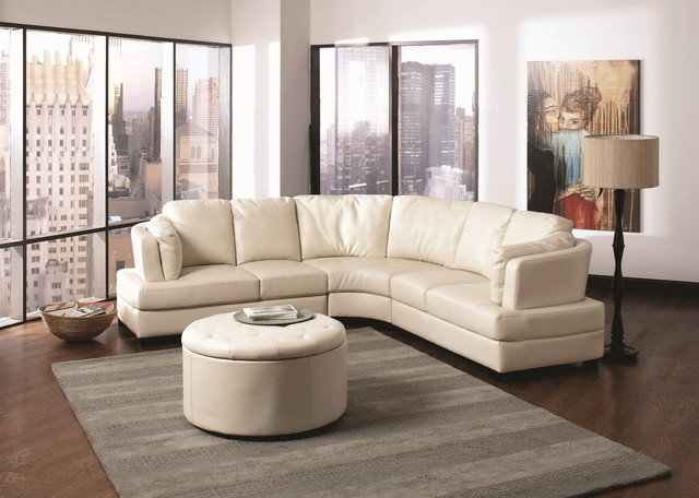Landen Contemporary Cream Leather Curved Sectional Sofa