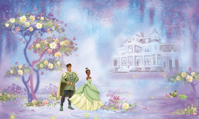 Disney princess frog giant wall paper accent mural for Disney princess mural wallpaper