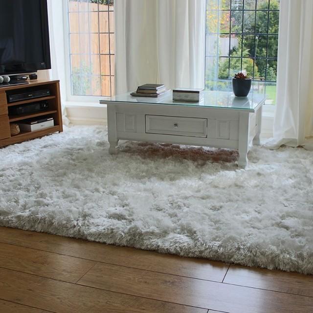 Plush Rug Floor: White Ultra Thick Plush Shaggy Rug