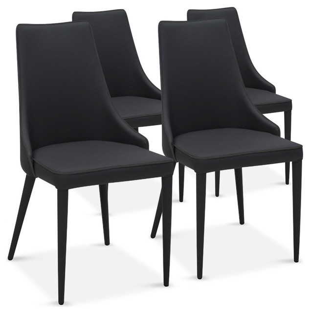 Lot De 4 Chaises Drogo Noires Design Contemporain