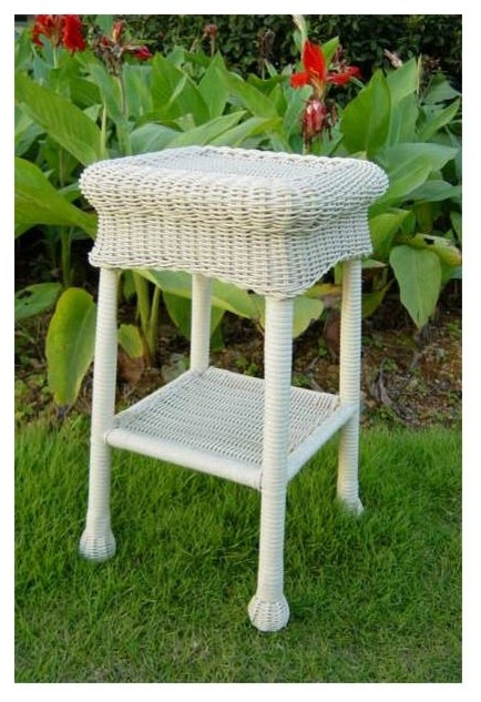 Wicker Resin/Steel Patio Side Table (White) - Contemporary - Outdoor Side Tables - by ShopLadder