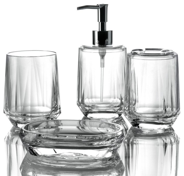 Gemme 4 piece bathroom accessory set clear bathroom for Clear bathroom accessories