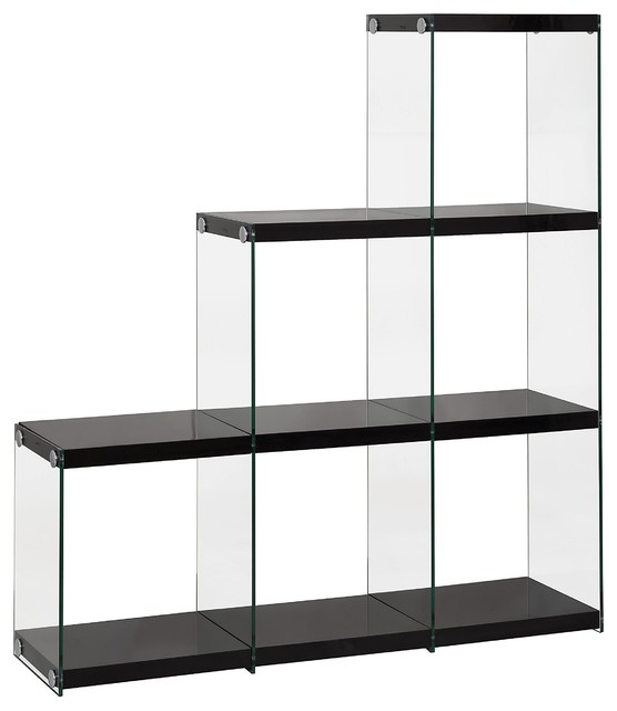 Contemporary Glossy Black Bookcase with Glass Side - Contemporary - Bookcases - new york - by ...