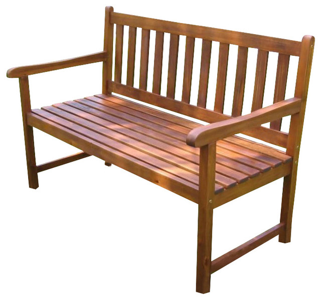 International Caravan 4 Foot Outdoor Wooden Patio Bench Transitional Outdoor Benches By Cymax