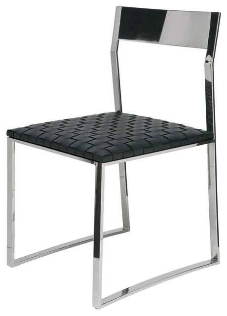 Camille Stainless Steel Dining Chair in Black Leather by  : modern dining chairs from www.houzz.com size 460 x 640 jpeg 35kB